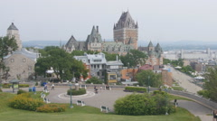 Chateau Frontenac viewed from Parc du Bastion-de-la-Reine, Quebec. Stock Footage