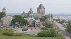 Chateau Frontenac viewed from Parc du Bastion-de-la-Reine, Quebec. - stock footage