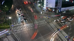 4K night timelapse of Dongdaemun district traffic in Seoul, South Korea Stock Footage