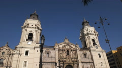 Tilt down shot of the cathedral of lima in peru Stock Footage