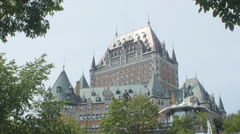 Chateau Frontenac viewed from Parc Montmorency, Quebec. Stock Footage