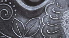 Intricate artwork metal finish - stock footage