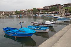 NESSEBAR, BULGARIA, JUNY 18, 2016: The streets of the old city resort of Ness Stock Photos