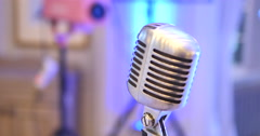 Microphone. Retro microphone. A microphone on stage. A pub Stock Footage