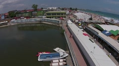Aerial Shot over Dock Stock Footage