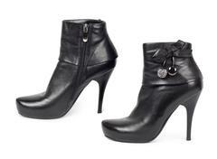 Black patent high heels platform shoe Stock Photos