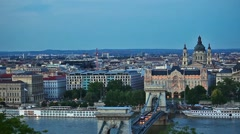 Evening view to Chain bridge in Budapest city Hungary Stock Footage