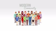 Modern community animation on white Stock Footage
