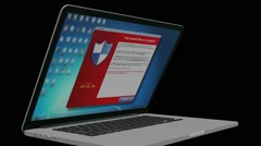 Cryptolocker-laptop in a black background Stock Footage