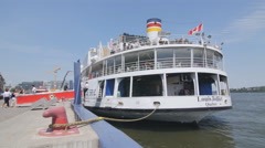 Louis Jolliet tourist ferry docked in Quebec City, Quebec, Canada. Stock Footage