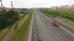 Urban circular highway at the north of St. Petersburg, Russia. Aerial view Stock Footage