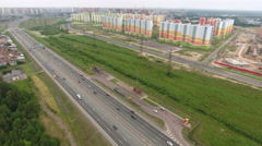 City ring way at the north of St. Petersburg, Russia. Aerial view Stock Footage