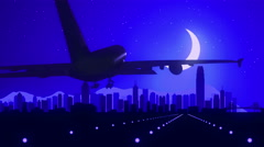 Hong Kong China Blue Airplane Landing Skyline Midnight Background Stock Footage