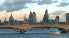 London skyline with The Shard, St Pauls, Southwark, London,UK Stock Footage