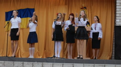 DNEPR, UKRAINE - Ukrainian pupils sing a song Stock Footage