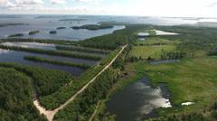 The artificial reservoir for water treatment near the lake Vyg, Segezha, Karelia Stock Footage