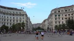 Aristotelous Square at evening. Thessaloniki, Greece. Stock Footage