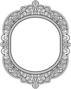Rich decorated unusual oval frame pattern. Vector decorative background in et Stock Illustration