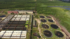 Traditional sewage treatment plant with all processes that clear a lot of waste Stock Footage