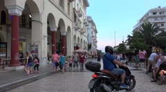 Parking of scooters  in the middle of the upper portion Aristotelous Square. Stock Footage