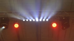 Lighting at the concert . Spotlights Stock Footage