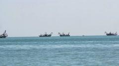 Fishing boats to the horizon . Trawling Stock Footage