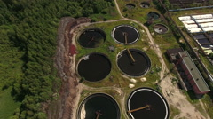 Wastewater treatment plant, overview, aerial view - stock footage