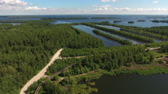 Artificial system of ponds for water treatments near the Vyg lake. Karelia, Rus Stock Footage