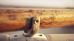 Closeup of Wooden Oar in Rowlock Slow Motion - Cinematic Stock Footage