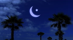 Ramadan kareem night and moonlight among the palm fronds Stock Footage