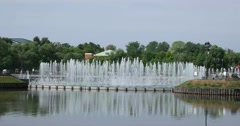 """Fountains, Middle Tsaritsyno pond. Museum - reserve """"Tsaritsyno"""", Moscow Stock Footage"""