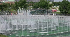 """Fountains in the city Park. Museum - reserve """"Tsaritsyno"""", Moscow Stock Footage"""