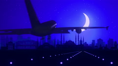 Istanbul Turkey Blue Airplane Landing Skyline Midnight Background Stock Footage