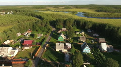 Russian summer village with wooden houses. Karelia, Russia - stock footage