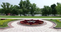 """A Park-like landscape, flower, pond. Museum - reserve """"Tsaritsyno"""", Moscow Stock Footage"""