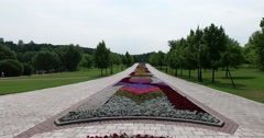 """Landscaping, walkway, Museum - reserve """"Tsaritsyno"""", Moscow Stock Footage"""