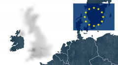 UK's EU referendum, West of EU map, European flag, Brexit - the UK's exclusion - stock footage