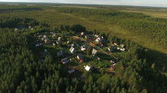 Russian village with summer cottages and vegetable gardens. Evergreen Karelia Stock Footage