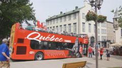 Double decker tour bus. Quebec City, Canada. - stock footage
