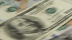 US One Hundred Dollar Bills on Turn Table Stock Footage