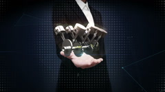 Businesswoman open palm, Automobile Technology. Engine piston side view. - stock footage