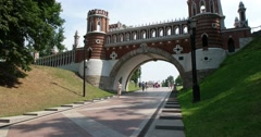 """Fancy bridge, Museum - reserve """"Tsaritsyno"""", Moscow Stock Footage"""
