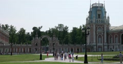 """Bread gate, Grand Palace, Museum - reserve """"Tsaritsyno"""", Moscow Stock Footage"""