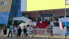 Festival Film Centre. The entrance with red carpet. Stock Footage