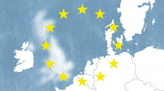 Brexit - United Kingdom exit from European Union - textured map with 12 stars Stock Footage