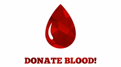 Donate blood animation - abstract mosaic triangular drop grows from mini drop Stock Footage