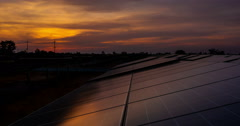 Timelaps of solar cell panel with sunrise Stock Footage