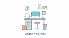 Empty workplace animation isolated on white background Stock Footage