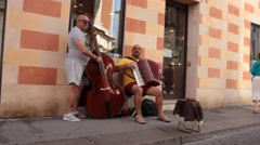 Two buskers play Stock Footage