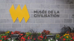 Sign outside the Musee de la Civilisation in Quebec City, Canada. Stock Footage